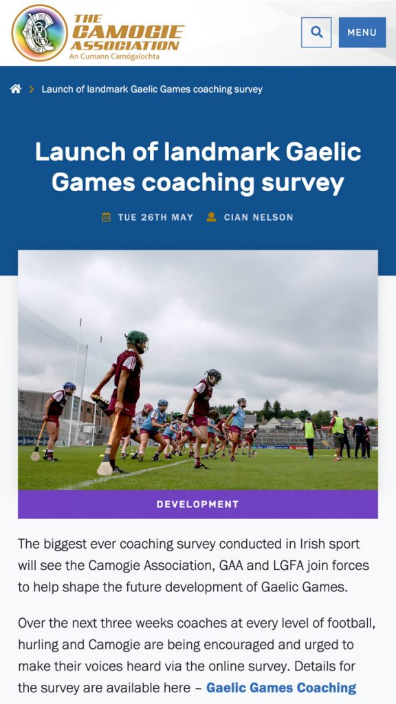 Camogie Association News Article