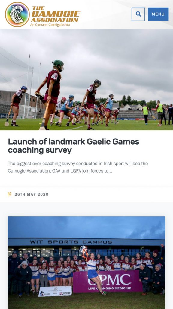 Camogie Association WordPress Website on Mobile