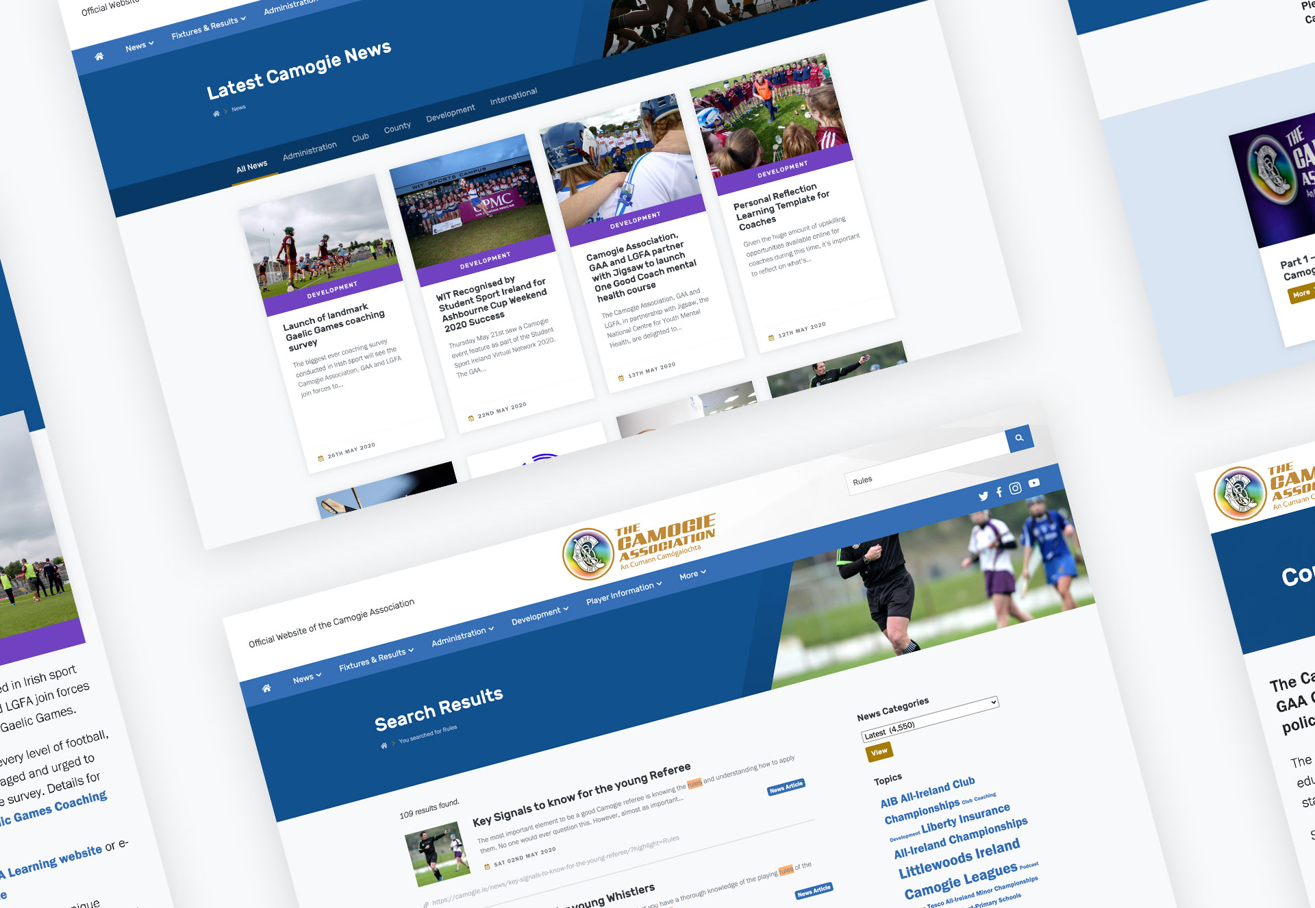 Camogie Association Website Layouts