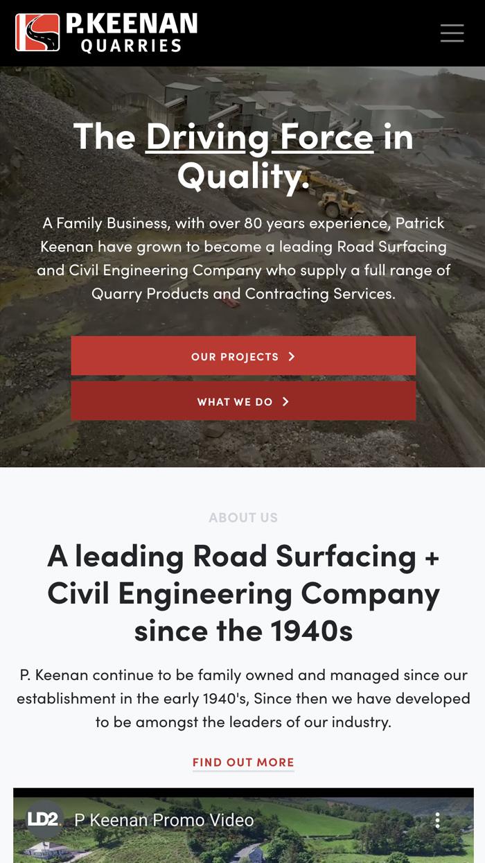 P. Keenan Quarries Responsive Web Design
