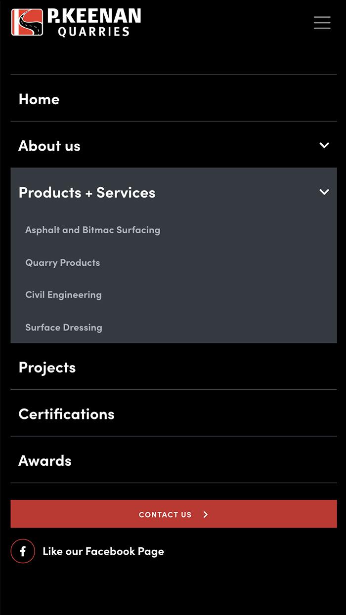 P. Keenan Quarries Responsive Mobile Website