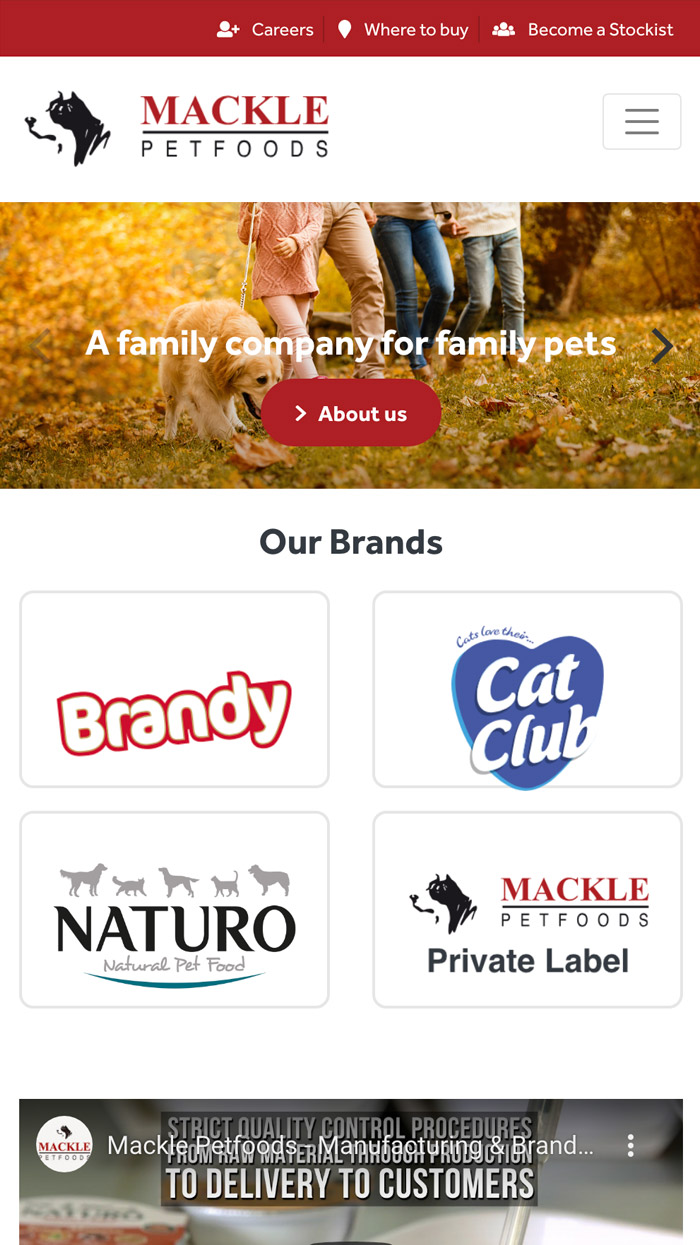 Mackle Pet Foods Mobile Website
